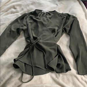 never worn olive green wrap top